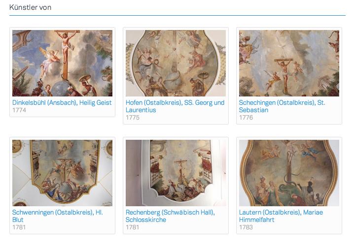 Werke des Künstlers Johann Nepomuk Nieberlein, in denen er Erdteilallegorien ausführte (Screenshot aus der Datenbank des FWF Projektes)