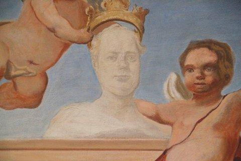 Portraitbüste des Abtes im Festsaalfresko des Bonndorfer Schlosses