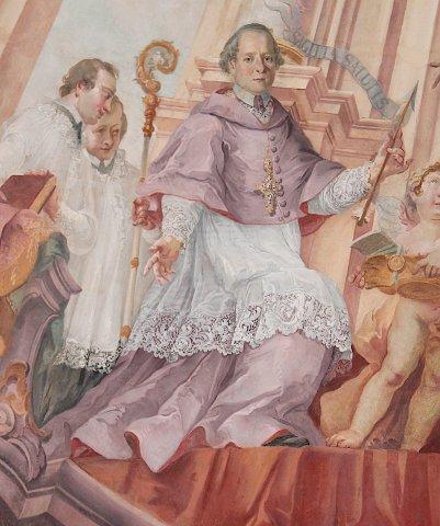 Porträt des Abtes Augustin Bauhof von Wettenhausen im Langhausfresko der Kirche SS. Peter und Paul in Großkötz