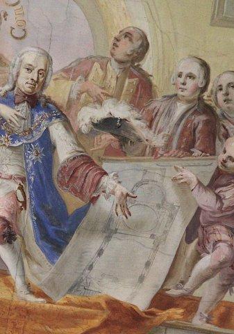Selbstporträt des Künstlers Andreas Meinrad von Au (1712–1792) im Langhausfresko der Wallfahrtskirche St. Anna in Haigerloch von 1754.