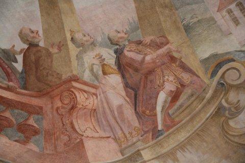 Portrait des Ortsherren Graf August Anton von Attems im Langhausfresko der Kirche St. Martin in Hirrlingen