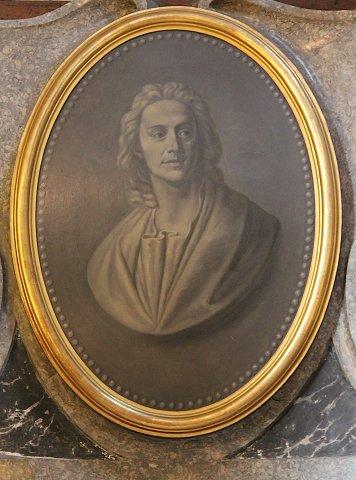 """Kopie nach einem Porträt """"Egid Quirin Asam"""" von George Desmarées (1697-1776), zug., um 1740, München, Asamkirche, Chor."""