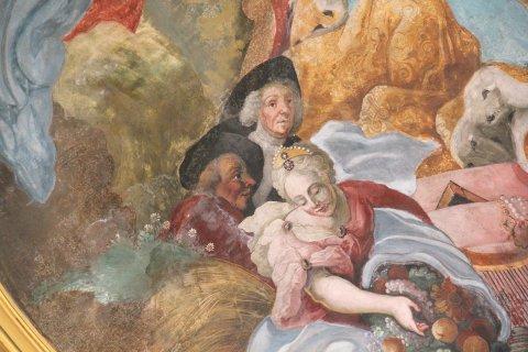 Selbstportrait des Künstlers (?), Detail aus dem Langhausfresko von St. Johannes Baptist in Rennertshofen