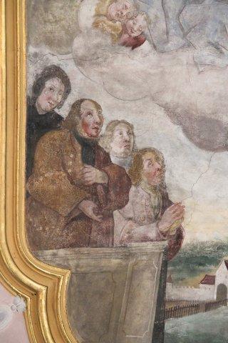 Mitglieder der Familie von Coudenhoven und Pfarrer im Chorfresko der Rennertshofener Kirche.
