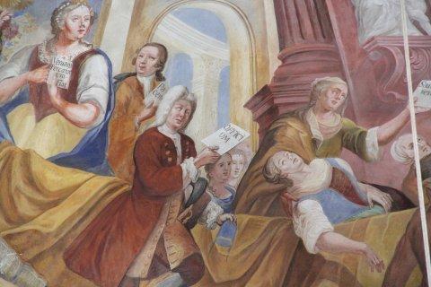 mgl. Portrait des Patronatsherren im Chorfresko der Wallfahrtskirche Mariae Schmerzen in Waldkirch